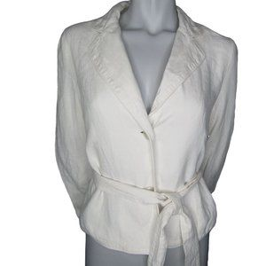 Teenflo Offwhite Belted 3/4 Sleeve Linen Blazer 8